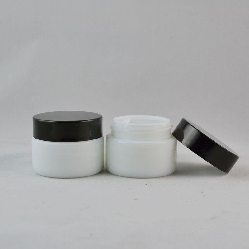 Vaso in vetro bianco da 30 g con coperchio in plastica nera, vasetto cosmetico, vasetto in vetro / contenitore per crema per maschere, vasetto per crema occhi F2647