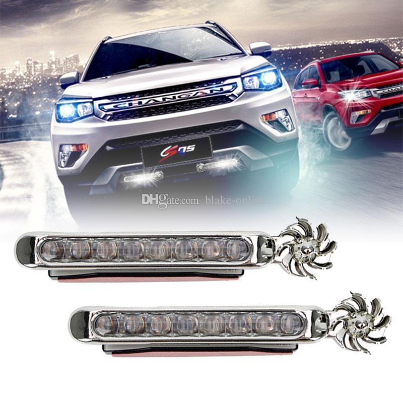 8 LED DRL Car LED Running Light Wind Energy No Need External Power Supply Daytime Light Daylight Headlight Fog Lamp 3 Colors