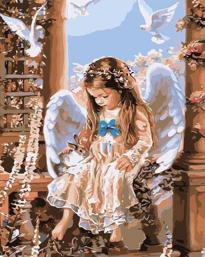 Poco ángel - Pintura por Números kits de bricolaje para los adultos de alta calidad lienzo El cuadro de DIY Dibujar sobre lienzo pintado a mano Pintura Animales bellas artes