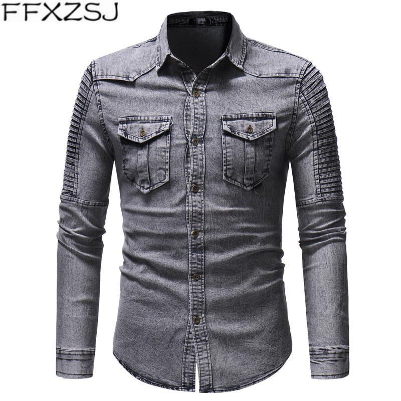FFXZSJ Марка Мужская одежда новые плиссированные лоскутное рукава джинсовой рубашки с длинным рукавом джинсовой куртки для мужчин Повседневный отложной воротник