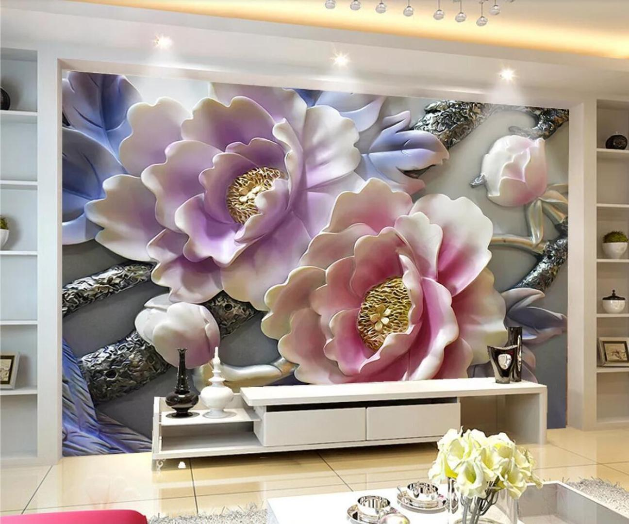 Embossed Pink Pennoy Floral Mural Wall Paper 3d Flowers Canvas Contact Paper Photo Wallpaper Photo Wallpaper Nature Custom