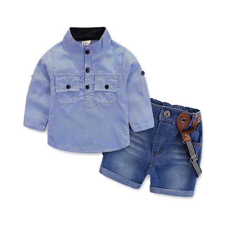 I bambini vestiti dei ragazzi che coprono l'insieme camicia blu + demin camici 2pcs / set con i vestiti tasca casuali V191115