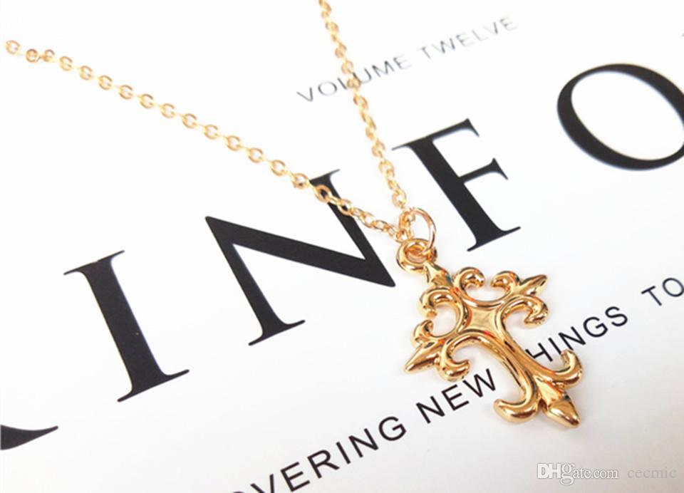 cecmic classic flower golden cross charm fashion costume jewelry pendant necklace wholesale with factory price direclty