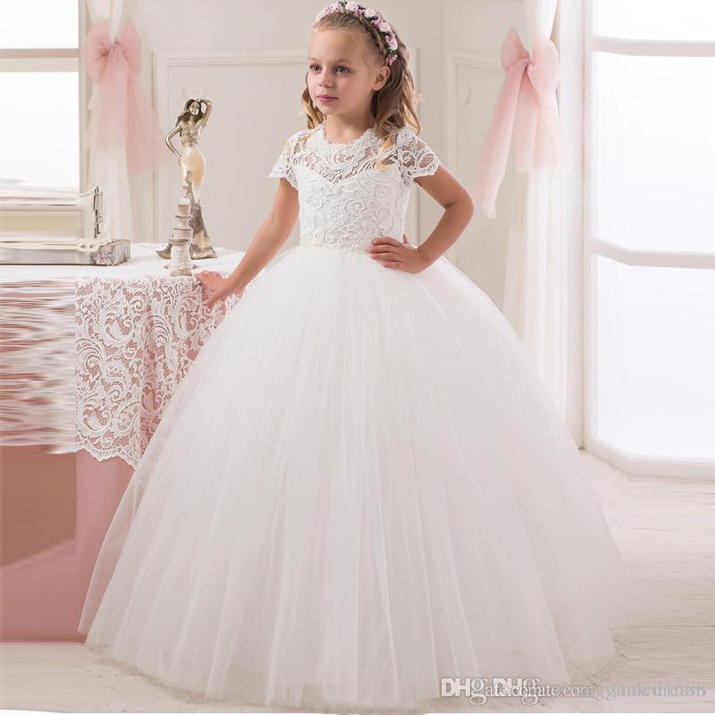 Lindo vestido de baile de las muchachas de flor vestidos de la manga larga de la joya Hecho a mano Floiwers Cuentas Tul Vestidos de baile de longitud de niños formal Wear7555545