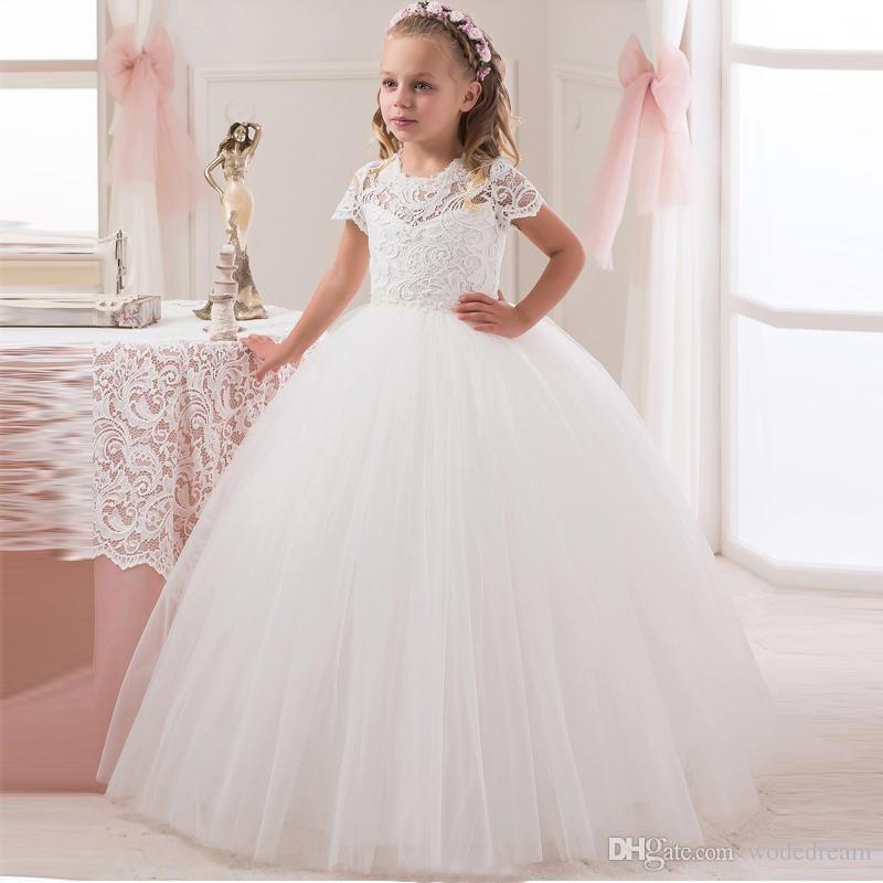 Cute Ball Gown Flower Girls Dresses Jewel Long Sleeve Hand Made Floiwers Beads Tulle Prom Dresses Floor Length Kids Formal Wear7555545
