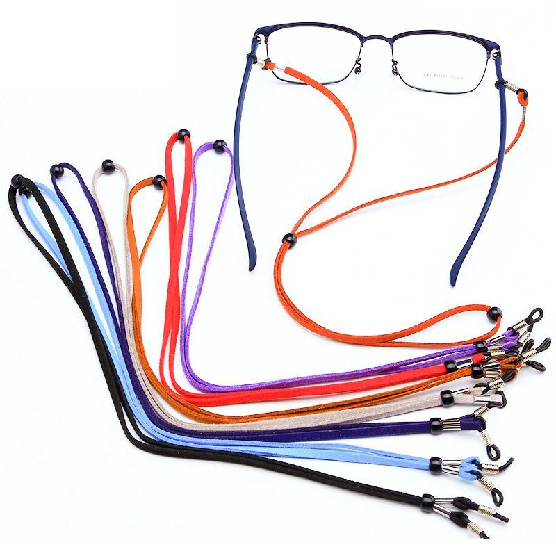Nouvelle vente chaude PU suède lunettes lanière de lunettes de lecture rétro chaîne lunettes antidérapantes mouvement corde gros