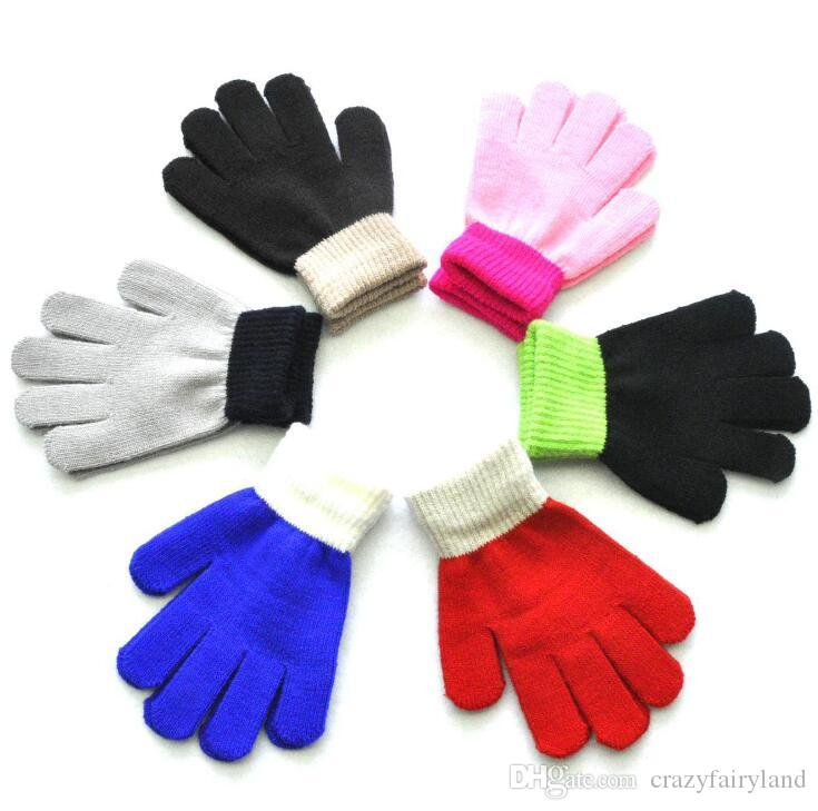 Kids Magic Gloves Soft Mittens Stretchy Knitted Winter Warm Gloves For Girl Boy