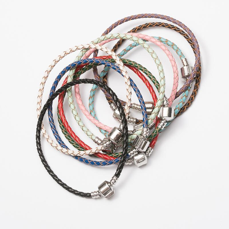 Moda Gümüş Kaplama Cooper Dokuma Hakiki Deri Bilezik Pandora Charm Boncuk DIY Bilezikler için Fit Bilezik 3 MM Toptan Fiyat 9 Renkler