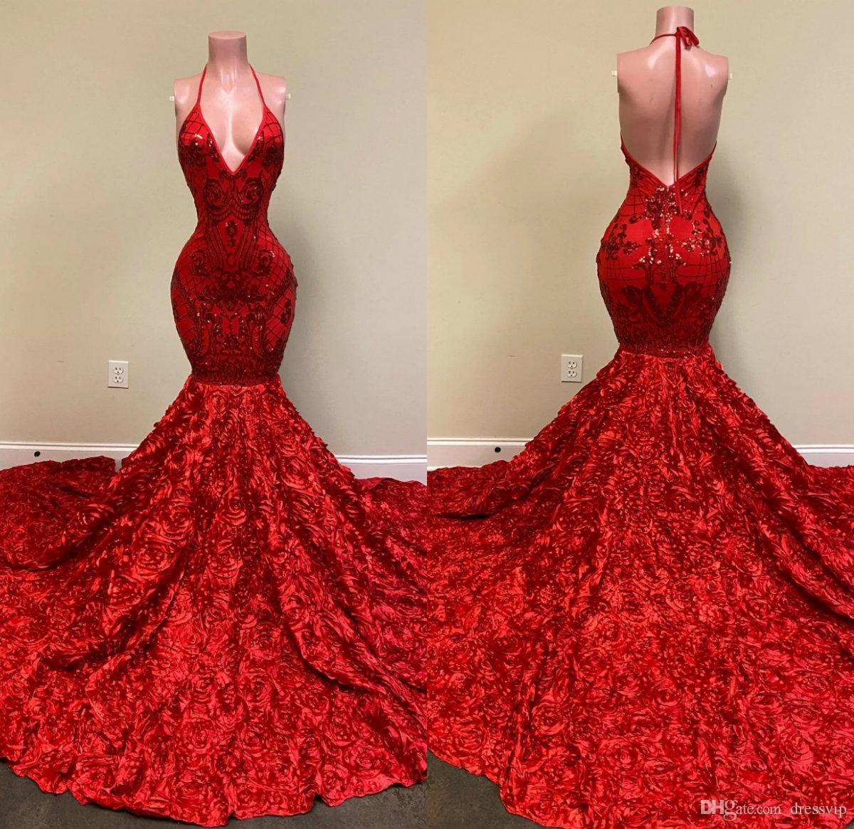 Sexy Backless Red Evening Dresses Halter Deep V Neck Lace Appliques Mermaid Prom Dress Rose Ruffles Special Occasion Party Gowns