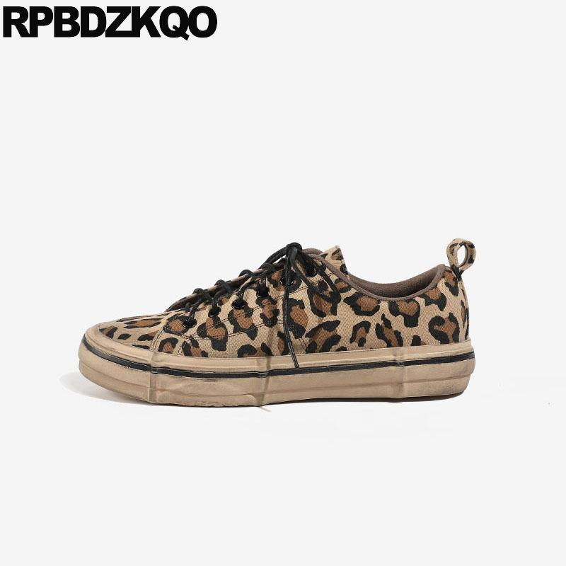 chinese beautiful trainers lace up leopard print breathable high top flats retro canvas shoes sneakers round toe women cloth