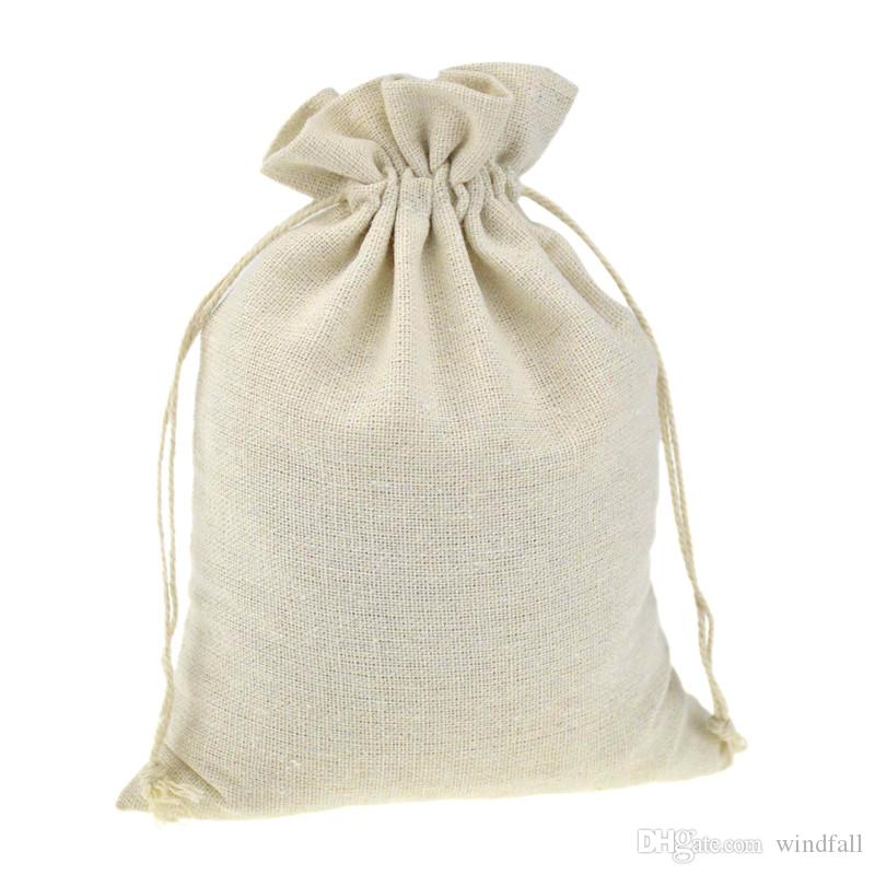Drawstring Packaging Gift Bags for Handmade Muslin Cotton Coffee bean Jewelry Pouch Storage Wedding Favors Rustic Folk Christmas
