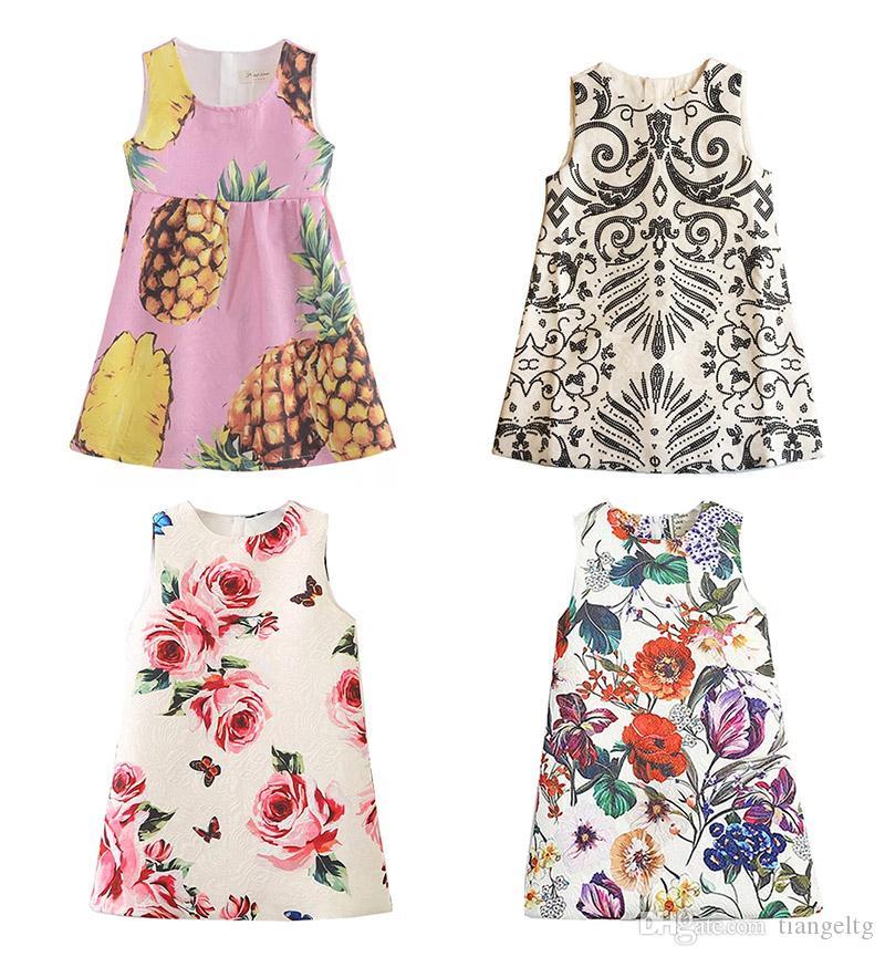 الفتيات اللباس الصيف 10 تصاميم مطبوعة زهرة الكلب روز فساتين الزهور تنورة البريدي سترة اللباس القطن اللباس 3-8T