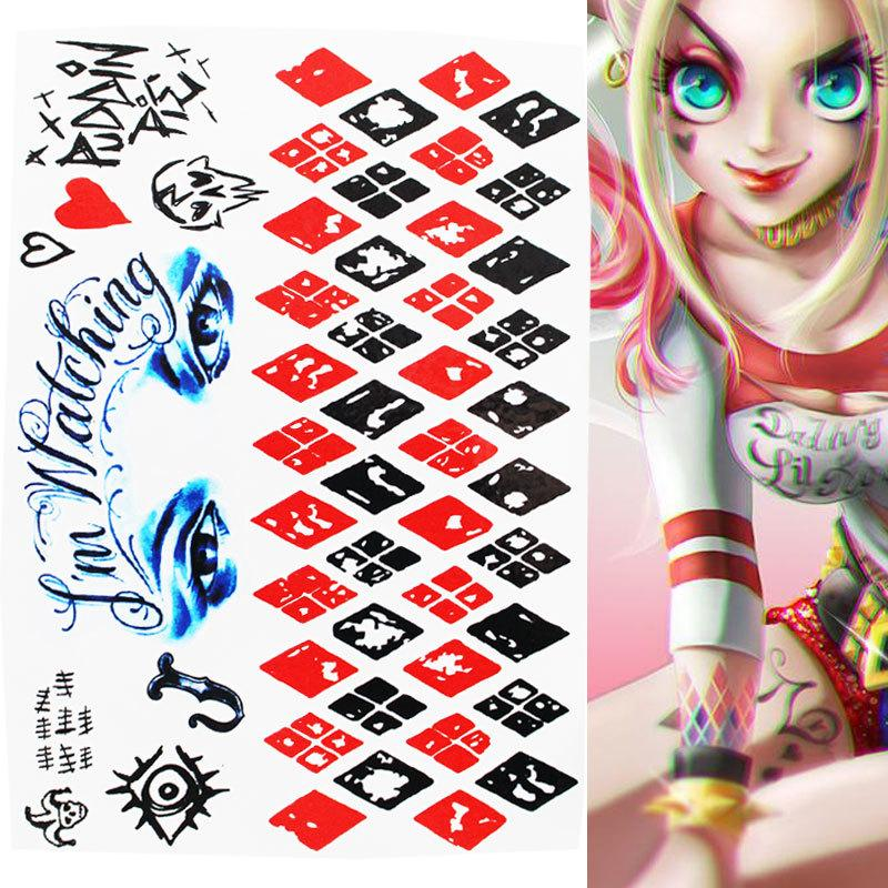 Waterproof Temporary Tattoo Sticker Suicide Squad Harley Quinn Joker Clown Fake Tatto Flash Tatoo For Men Girl Womem Femme Print Your Own Temporary