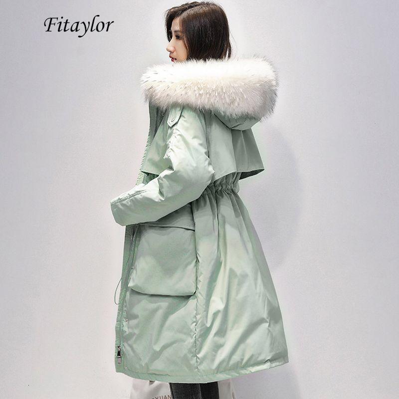 Fitaylor Grande Natural Fur Collar Long Coat Mulheres Winter 90% pato branco para baixo Parka Feminino Zipper Sash Tie Up Down Jacket Outwear T191030