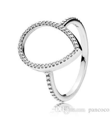 Originais 925 prata esterlina anel Teardrop silhueta Anéis Com festa do casamento de Cristal Para Pandora Mulheres moda jóias