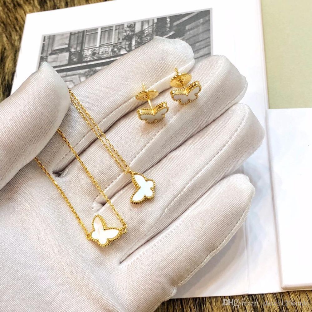 Argent 925 naturel Nacre Papillon Boucles d'oreilles Collier Bracelet Ensemble de bijoux pour les femmes les hommes Hip Hop populaire bling bijoux