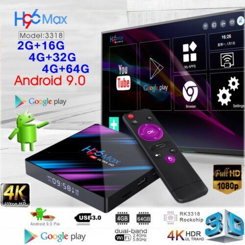H96 MAX Android 10 Smart TV BOX 4GB + 32GB Bluetooth 4K Quad Core WiFi Google Play Home Audio Media Player
