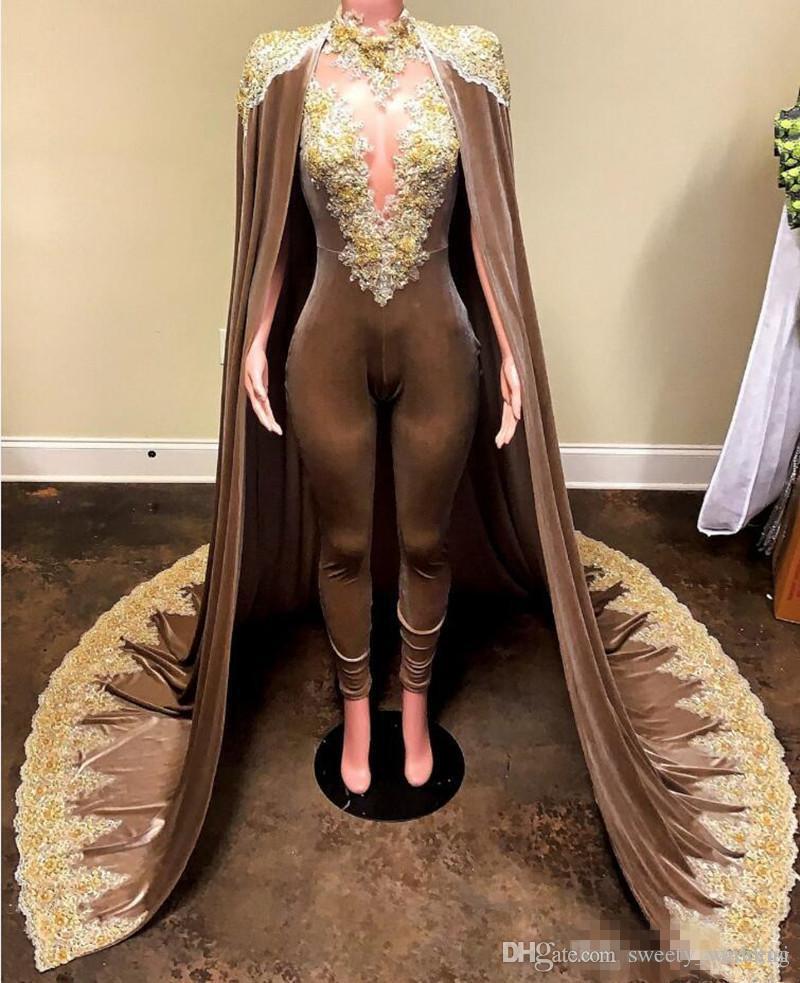 Chegada Nova Macacão Vestidos de noite com destacável Manto Prom Vestidos Calças ouro Applique Plus Size Lace Appliqued vestido formal vestido de festa