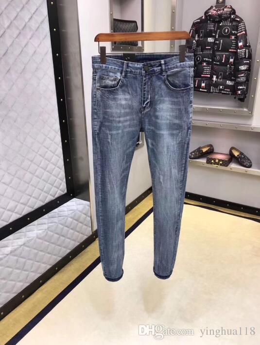 Los hombres del diseñador de moda clásico flaco Slim Fit motorista de la motocicleta Jeans Denim causal pantalones vaqueros para hombre streetwear del estilo azul fresco 29-38