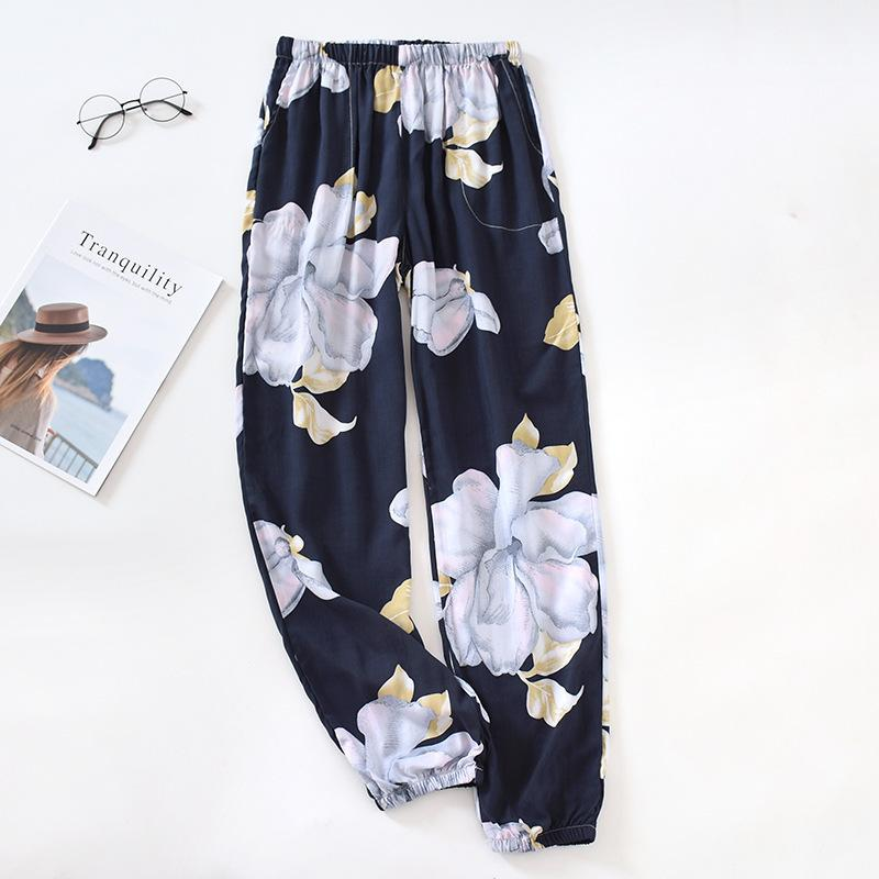 Sono Calças Mulher Primavera-Verão seção fina Multi-color Fechando Confortável respirável Casual Início sono algodão Calças T200429