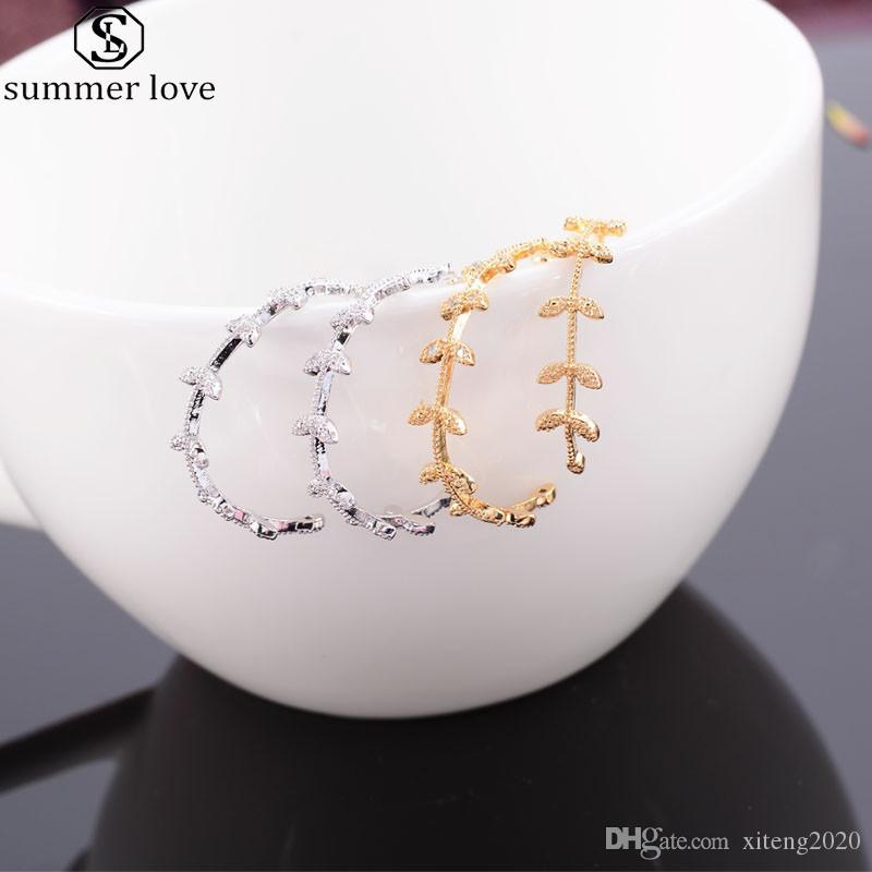 Pendientes del aro de la forma de hoja envolvente plata de la manera en color oro para las mujeres hojas Cubic Zirconia Declaración de Gran joyería earing-Z