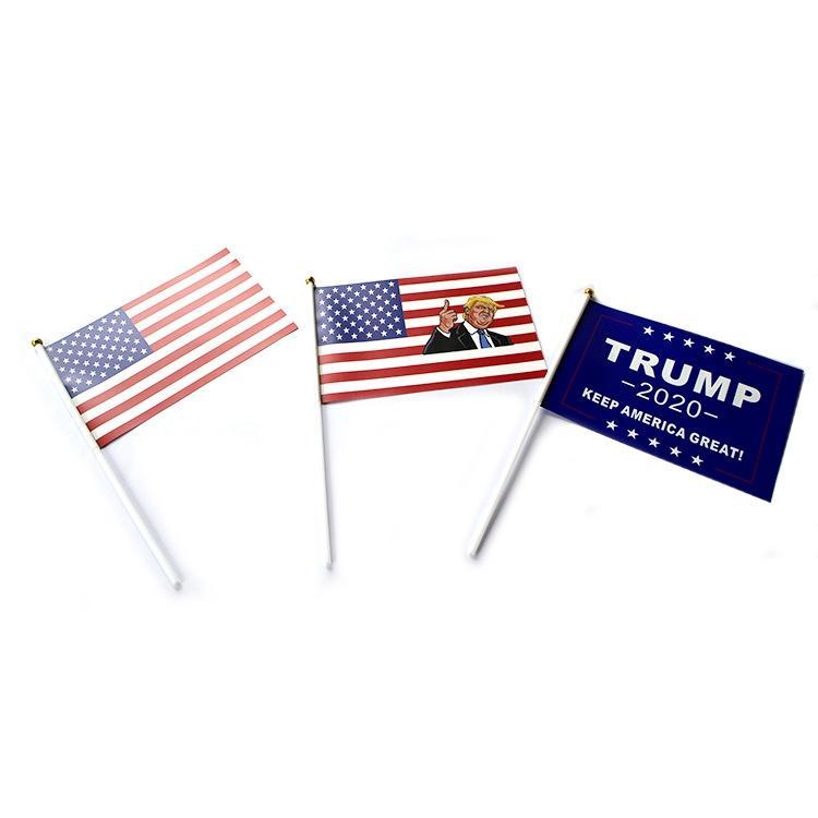 Trump Segnaposto Bandiera 14X21CM Donald 2020 Flags Letter Stampa Mantenere l'America Grande Striscione Carta Impermeabile Mano Waving Flags GGA2075