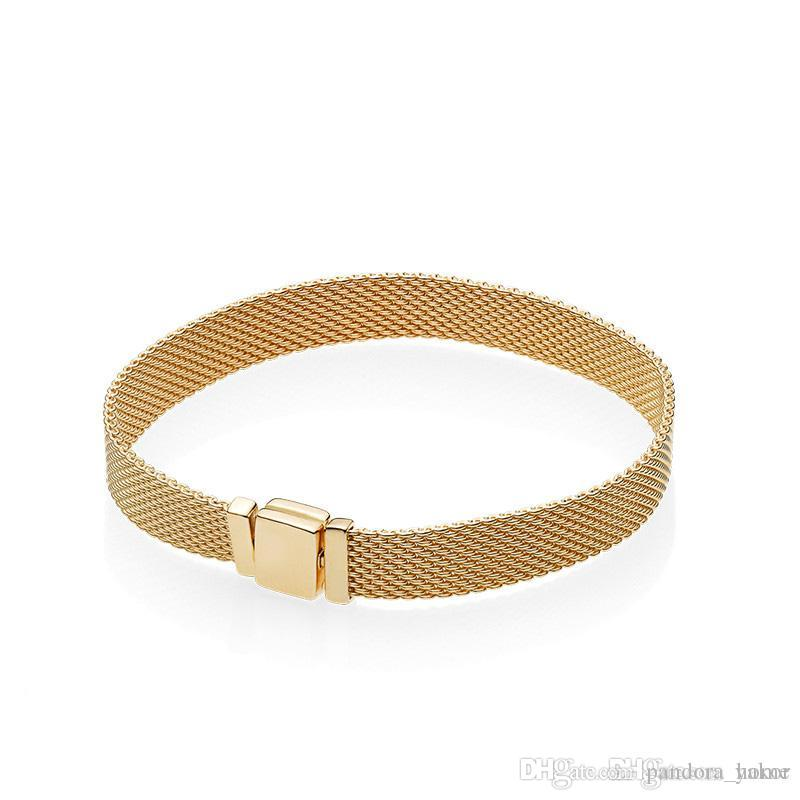18 كيلو الذهب الأصفر جديد المنعكسات الرجال سوار الأصل مربع مجموعة ل باندورا 925 فضة المرأة هدية أساور