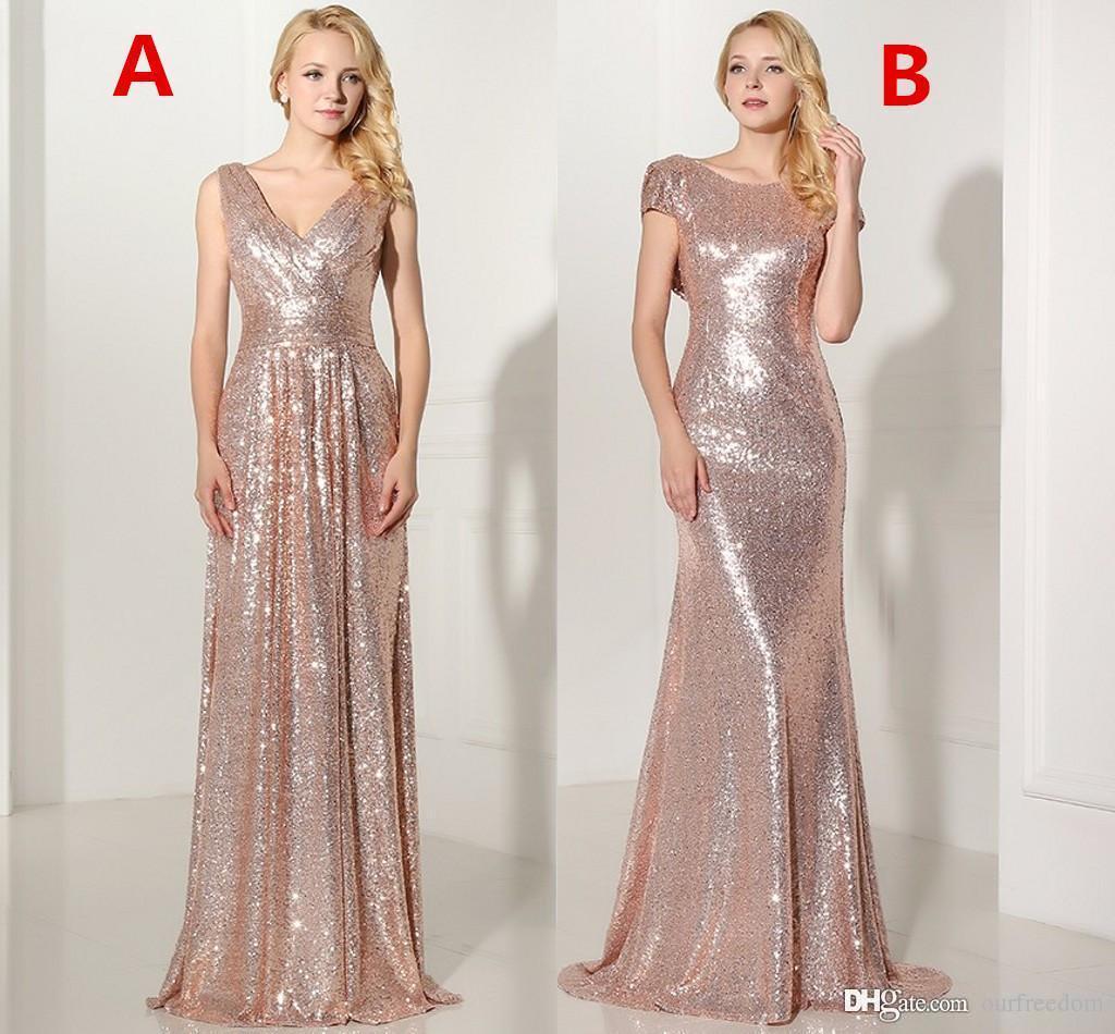 Real 2019 Rose Gold Sequined Long Bridesmaid Dresses Sexig V-Neck Pläterad Backless Formell Klänning Party Vestido de Festa Longo SD349 SD347