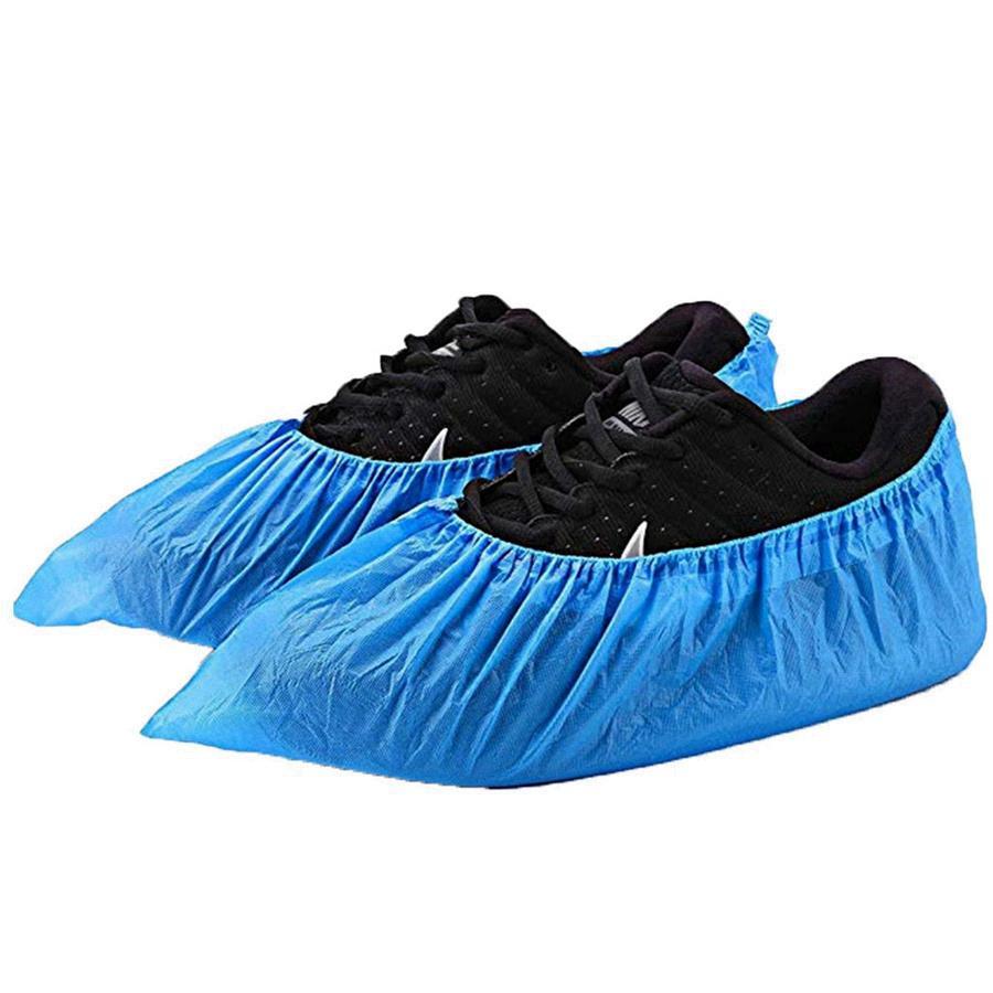 Одноразовые бахилы для обуви нескользящие водонепроницаемые CPE толстые пластиковые бахилы пинетки Универсальный размер синий цвет RRA3047