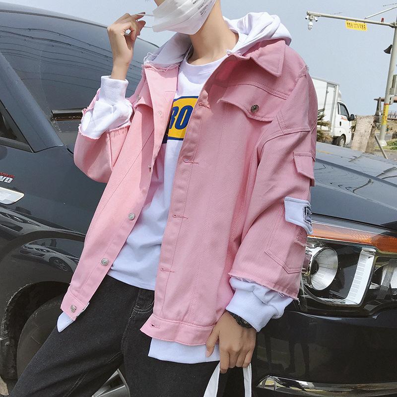 Outono Primavera 2020 nova rua solta adolescente rosa jaqueta jeans mens moda coreana jaqueta com capuz bonito estudante do sexo masculino casaco solto