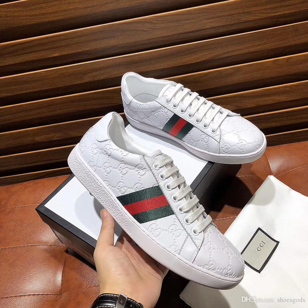 Neuer Luxus-Männer Schuhe Luxus Brief bequeme schwarze Weißen Schuhe echten Leder-Turnschuh-zufällige Männer Jugend Schuhe der Größe 38-45 Beste qualit
