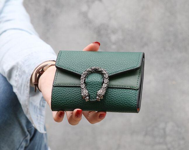 6 가지 색상 지갑 작은 여성 짧은 레트로 접기 변경 지갑 레드 블랙 그린 브라운 순수한 컬러 미니 여성 가방 공장 가격
