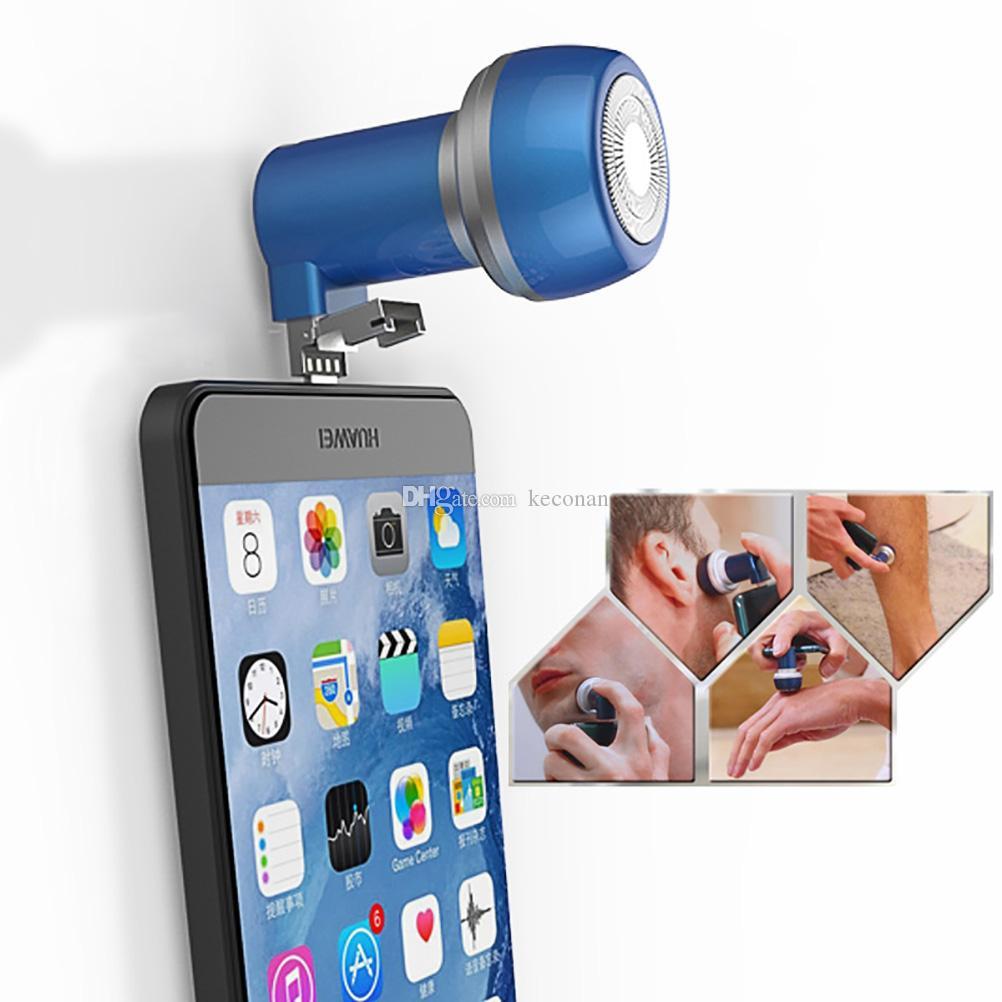 Magnética de succión de teléfono de afeitar Maquinillas de afeitar eléctricas Mini Depiladora Trimmer iPhone Conectar unisex o teléfono Android para afeitar y afeitar pelo de axila