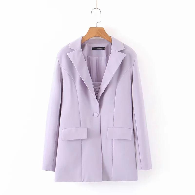 Women Solid Chic Suit Blazers Long Sleeve Single Breasted Purple Jacket Notched Collar Pockets Casual Streetwear Coat