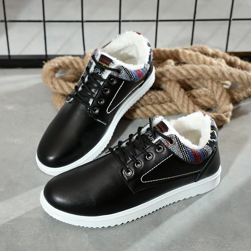 Sapatos Masculino Deri Boş Rahat Yumuşak Günlük Ayakkabılar Kış Peluş Öğrenci Düz Dantel-up Erkek Sneakers Chaussure Homme Ayakkabı