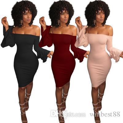 2019 الساخن بيع مثير الصلبة فساتين الكتف اللون مضيئة تنورة معطلة طويل الأكمام مضيئة ضيق فساتين الصيف حزمة الورك تنورة S-XL
