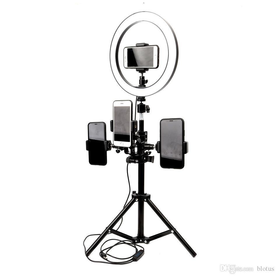 10inch 26cm interfaz USB regulable LED selfie Anillo de luz para cámara de vídeo Teléfono Fotografía de maquillaje titular de la lámpara con el trípode Estudio de teléfono Clip
