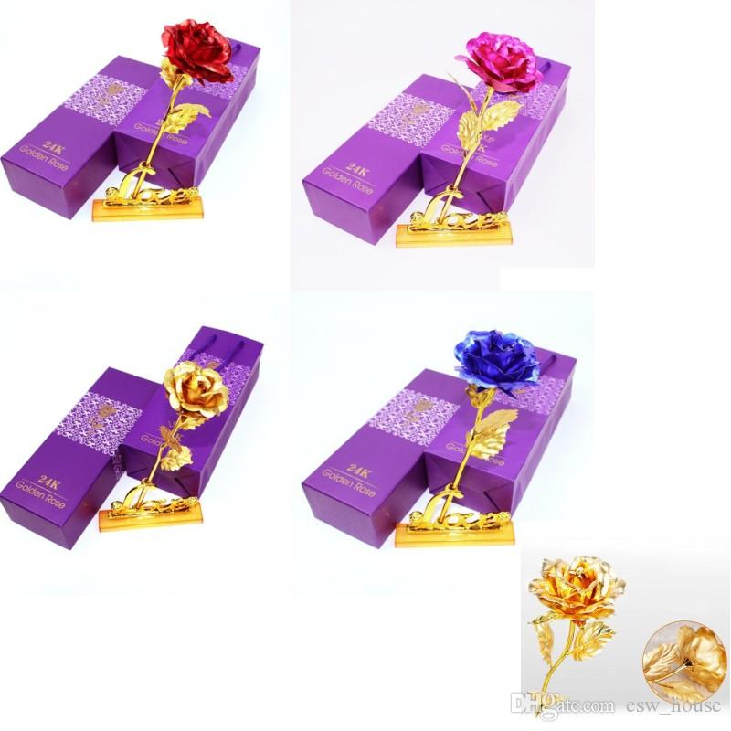 24K Gold Foil Plated Roses Gifts Wedding Decoration Forever Lover Valentine Day Handcrafted Gifts Artificial Flower with Packing Box