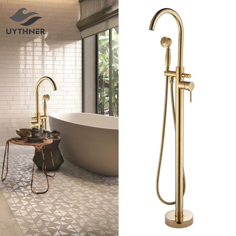 Gold Floor Mounted Tub Sink Faucet Single Handle Bathroom Bath Shower Set Free Standing Bathtub Mixer Tap with Handshower