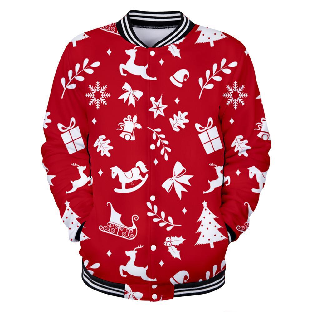 Christmas 3D Printed Baseball Jackets Fashion Women/Men Hot Sale 2019 Long Sleeve Jacket Casual Streetwear Clothes