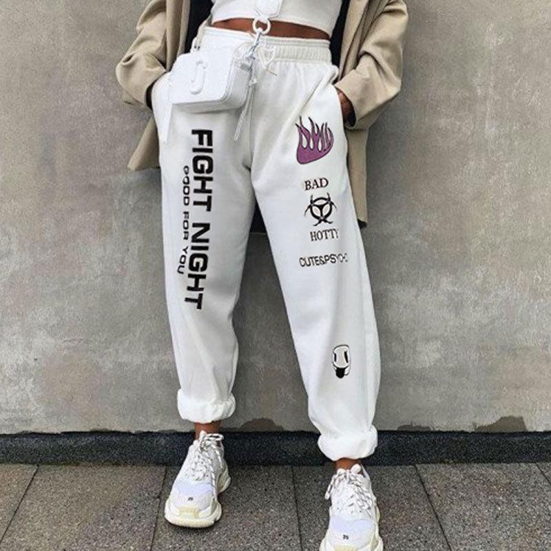 Branco Casual impresso Calças largas Mulheres Hip Hop cintura alta malha Calças Moda Streetwear Workout basculadores das mulheres Sweatpants