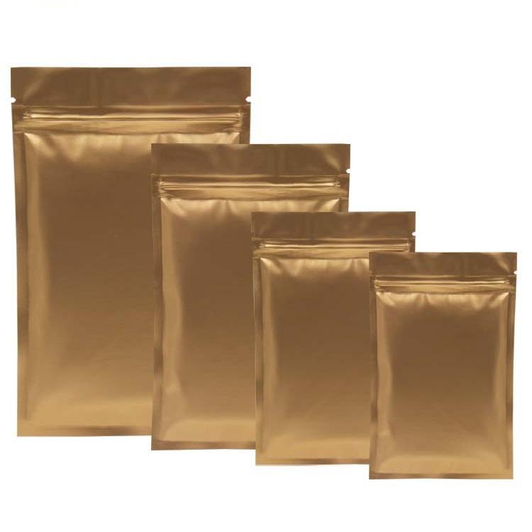 100pcs-300pcs opaco Oro di alluminio a chiusura lampo confezione sacchetto di metallo cerniera pacchetto bustine di zucchero regalo Foglia Borse
