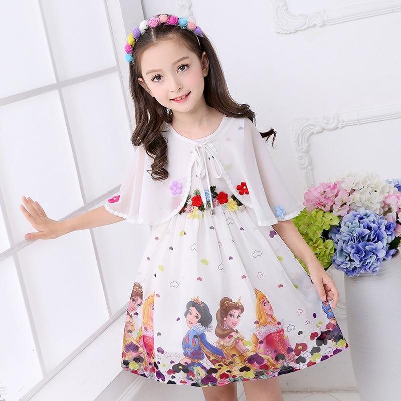New Ins Girls'chiffon Cotton Kleider für Sommer 2019 Mode Kinderkleidung