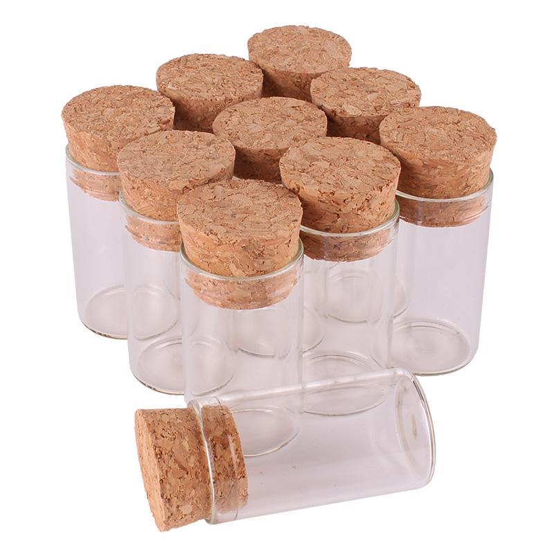 100pcs 6ml Größe 22 * 40mm kleines Reagenzglas mit Korken Flaschen Gewürzbehälter Gläser Vials DIY Fertigkeit