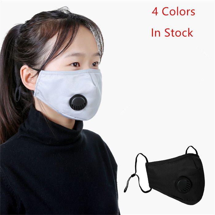 5 capa protectora de la cara de la máscara anti-polvo pm 2,5 Máscara de respiración con válvula adultos reutilizable de algodón cómodo de la mascarilla Grueso de la manera de la cara 10pcs
