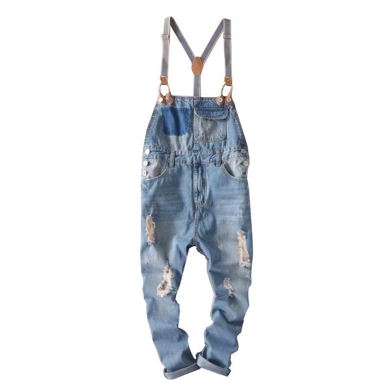 hip hop streetwear bib pants overall jean Fashion men jean overalls Ripped bib jeans for men Male Ripped denim jumpsuit