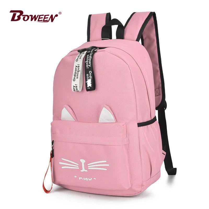 Симпатичные мультфильм Cat Ears рюкзак Девушка Schoolbag для подростковых женщин Back Pack Нейлон школы рюкзак Famale подросток Bagpack 2018 новый S200107