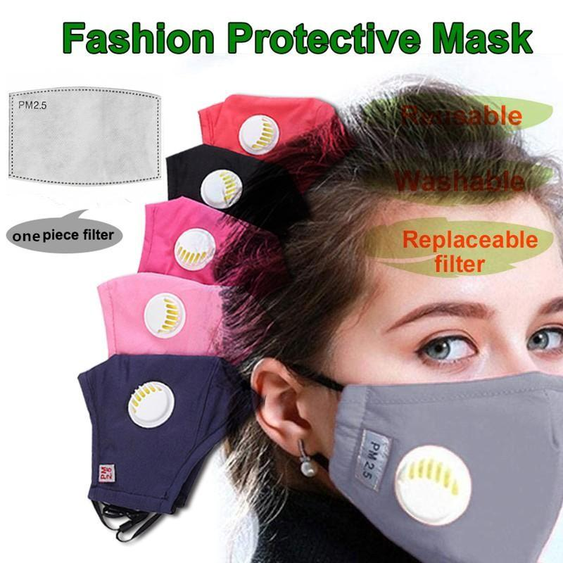 UPS Ship Dustproof Face Mask Breathing Valve Sponge Mask Washable Reusable Anti-Dust Fog PM2.5 Protective Masks With 1 Free Filter 5 Layers