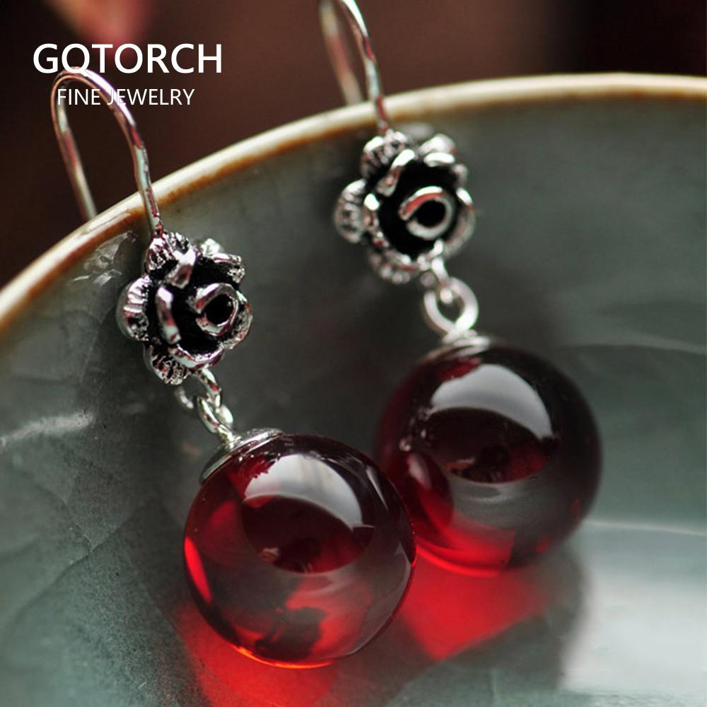 Real 925 Sterling Silver Jewelry Natural Stone Earrings for Women Red Garnet and White Opal Retro Beautiful Rose Flower Carved CX200611
