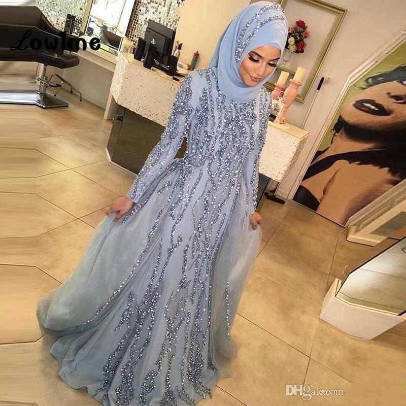 Musulmana de lujo de manga larga de cristal sirena formal del partido del vestido de noche de Dubai Turco Árabe vestidos de noche Vestidos Vestido De Fiesta Avondjurk